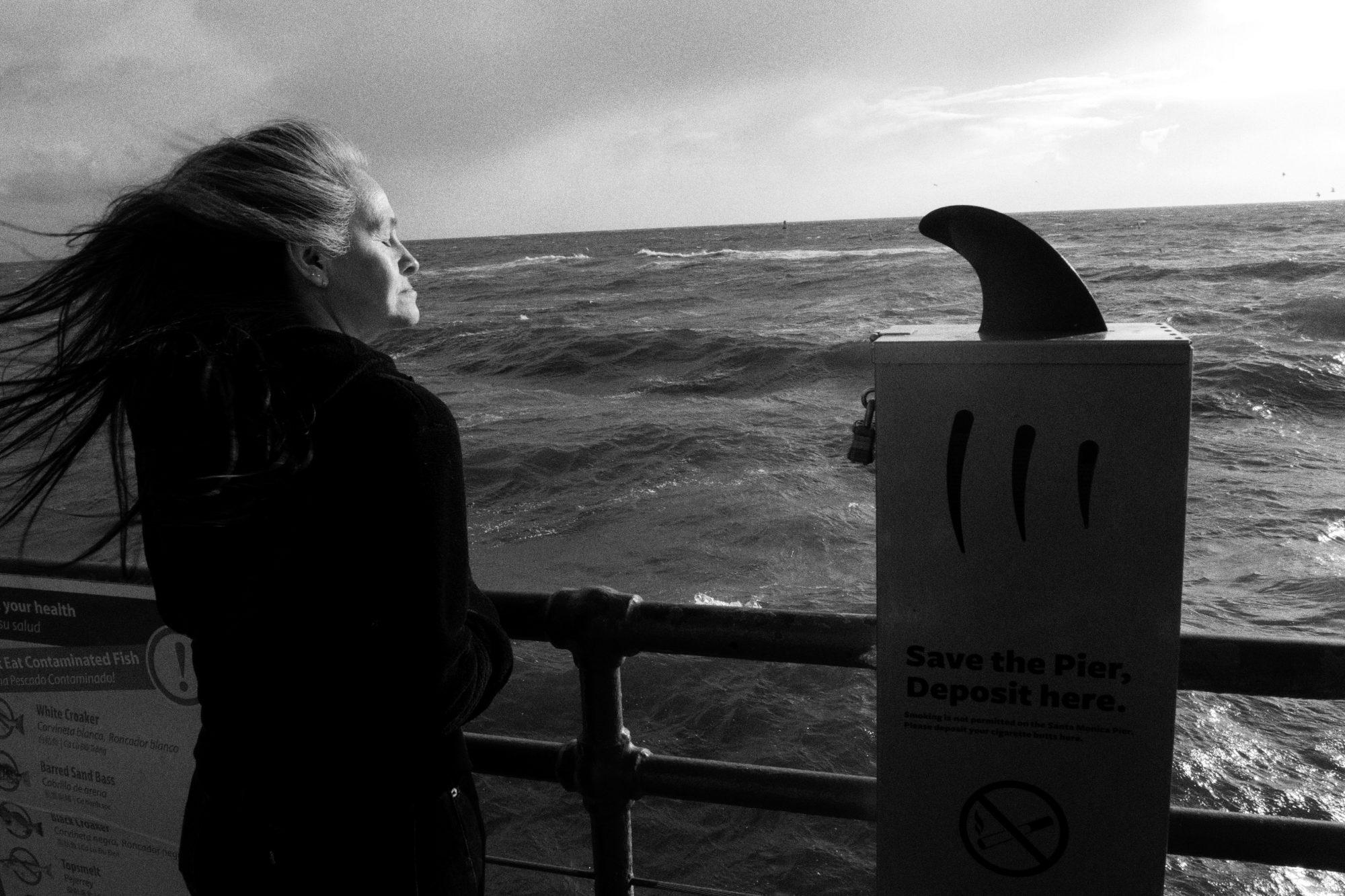woman shark hair water santa monica