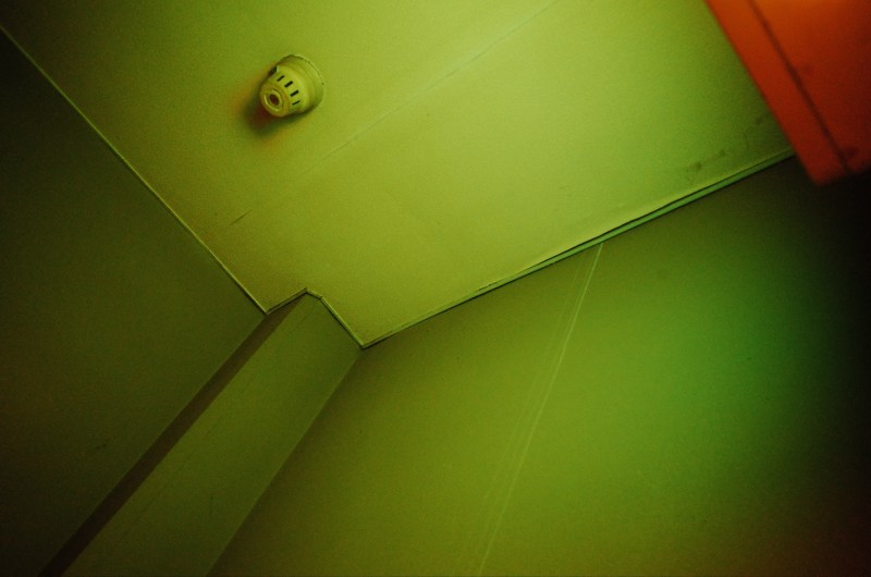 Green and red ceiling.