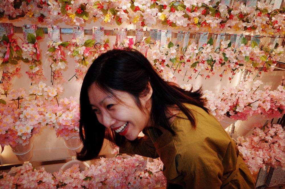 Cindy laughing inside Daiso. Osaka