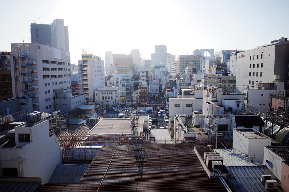 Osaka urban landscape skyline. 2018