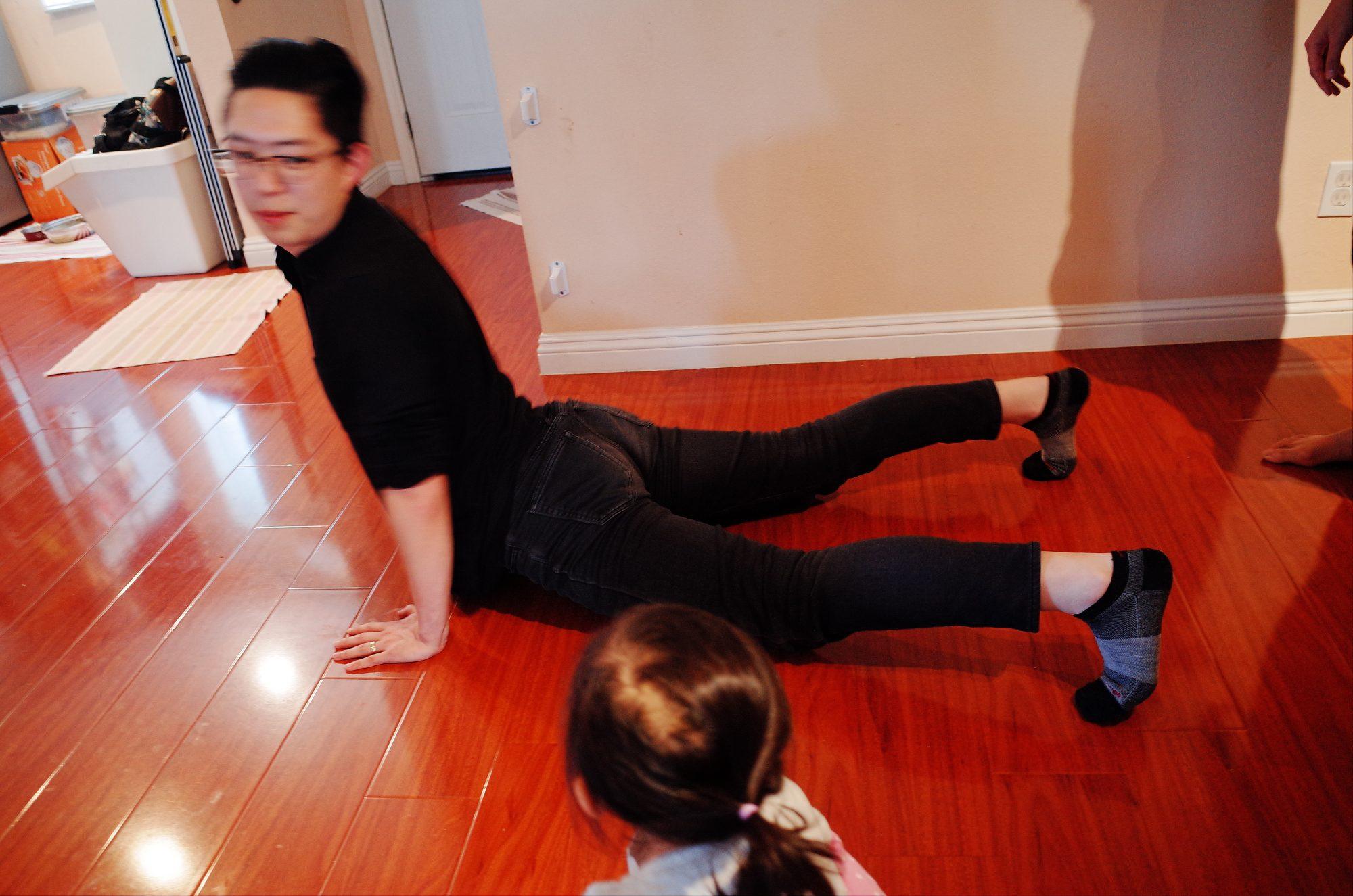 Doing yoga // Outlier Men's Merino Wool Shirt, Merino Wool Leggings