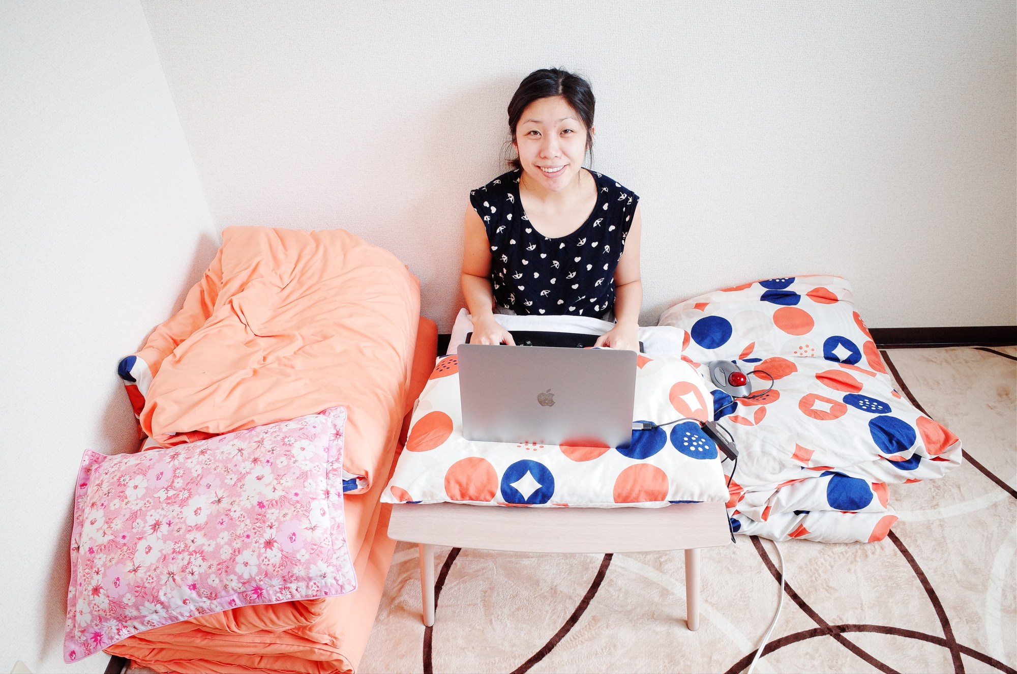 Cindy at work inside our Osaka AirBnb apartment