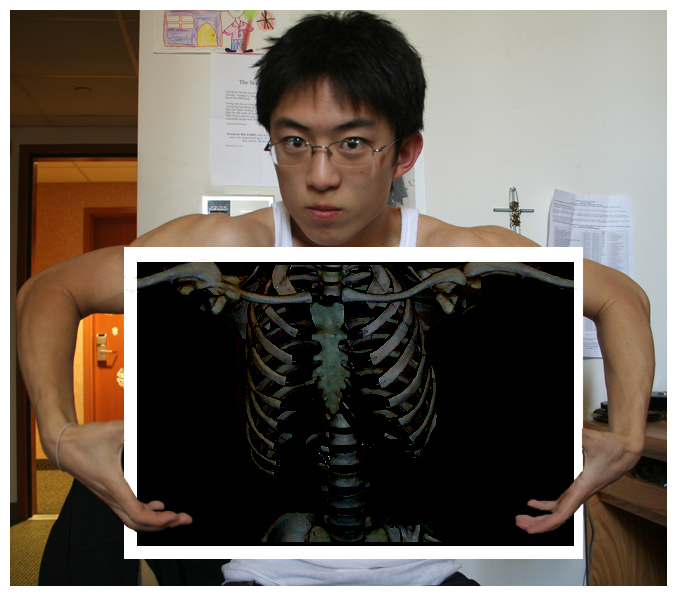 Photoshopped selfie of myself in my freshman dorm room at UCLA. 2007 / skeleton