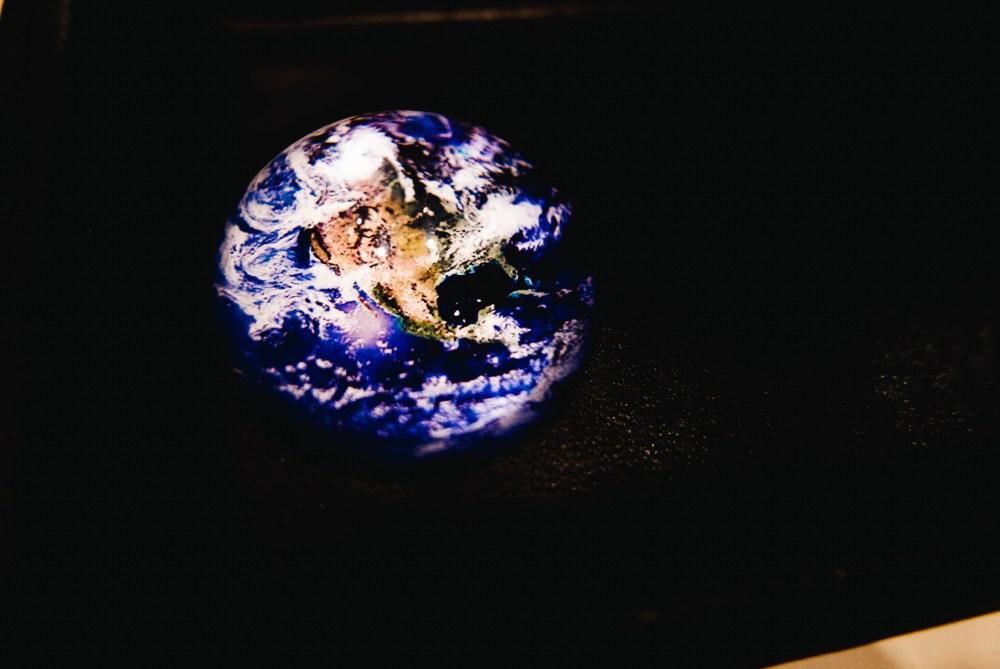 The globe, earth, macro photo