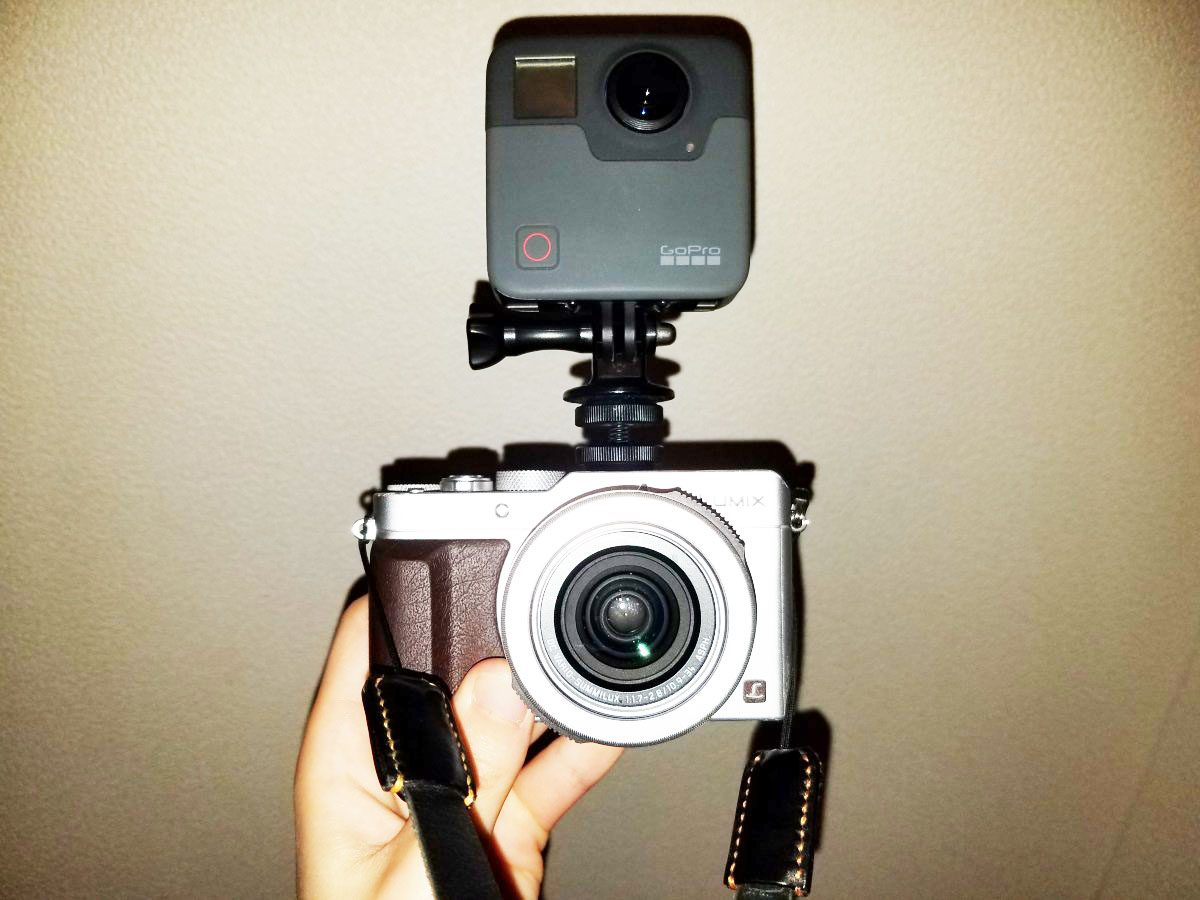 GoPro Fusion mounted on top of Lumix LX 100 with hotshoe mount