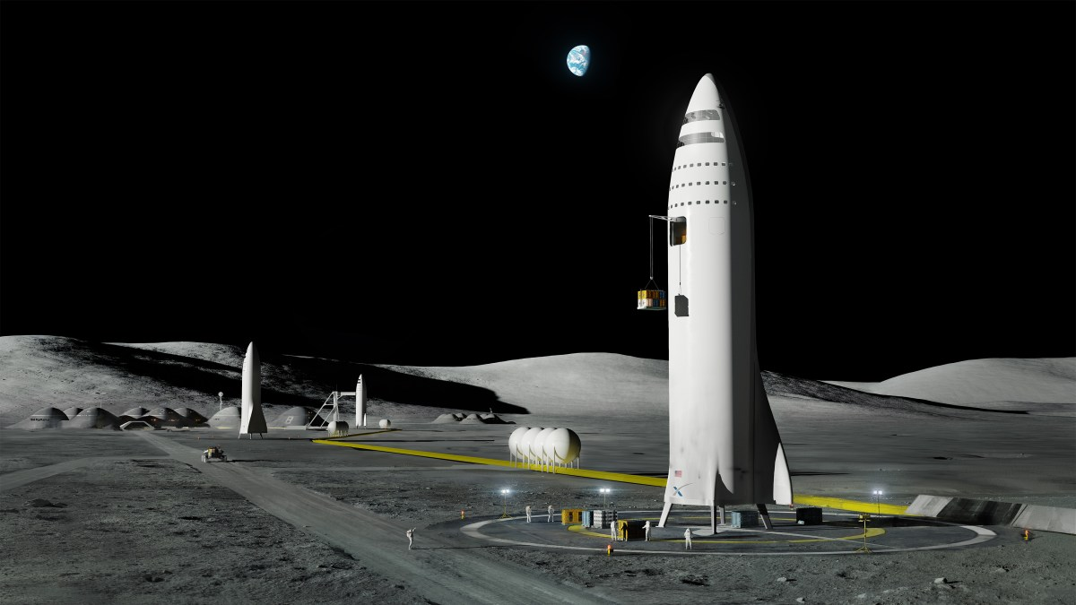 "Artist rendition of ""BFR"" (big fucking rocket) by SpaceX on the Moon"