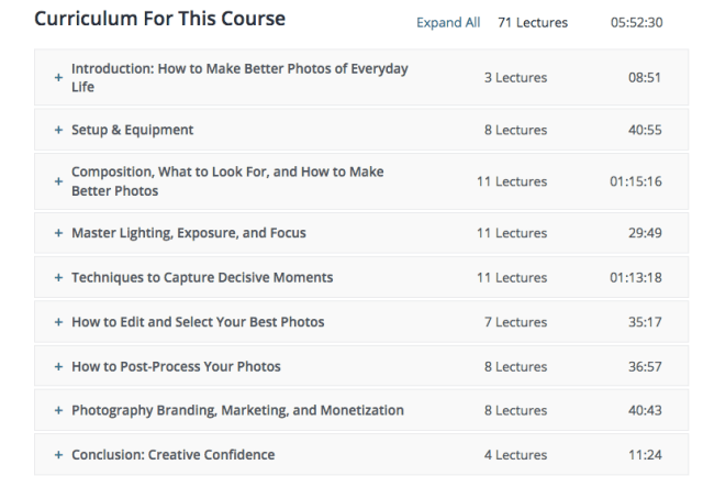 Curriculum to Ultimate Beginner's Guide to Mastering Photography on Udemy