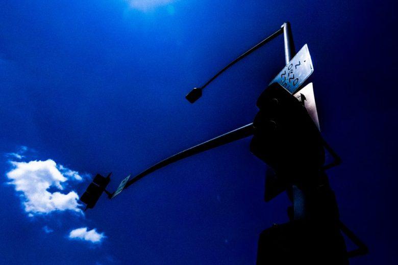 Blue sky light pole