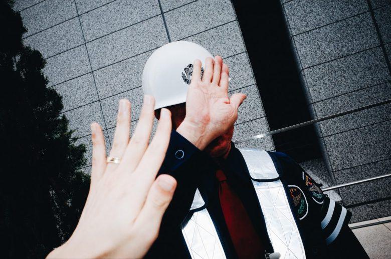 Double hand surrealism Tokyo construction worker