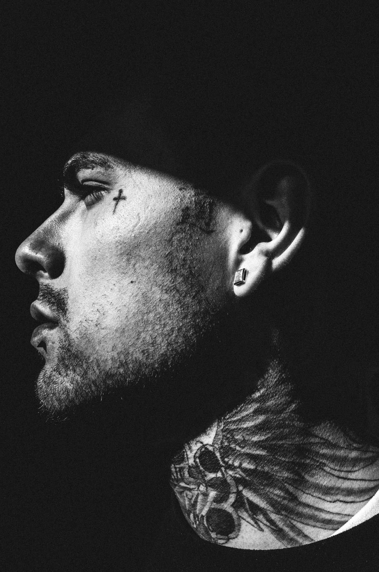 Side tattoo face. Downtown LA, 2015 Ricoh gr ii