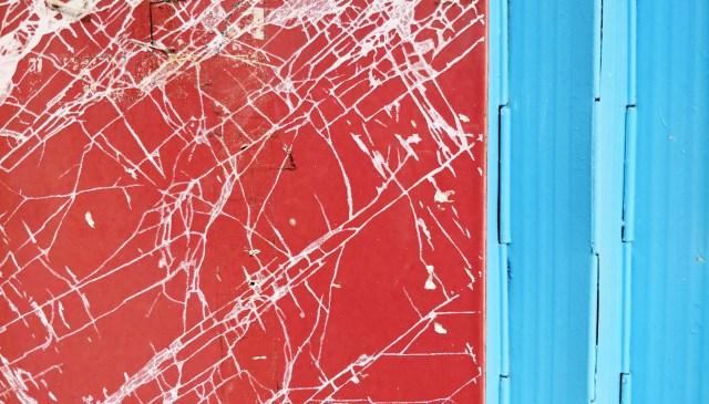 Saigon abstract. Red and blue.