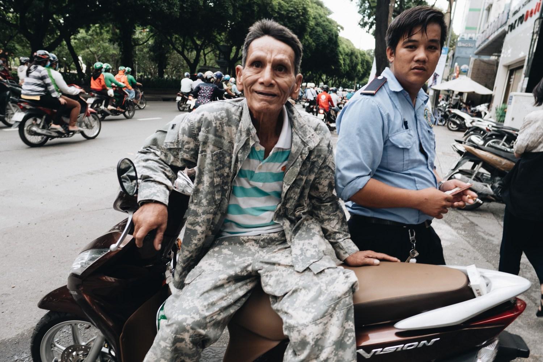 Vietnamese man army clothes camo