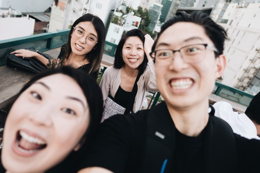 Team Haptic in Saigon: Eric, Cindy, Jennifer (Cindy's sister), and Annette (Eric's sister)