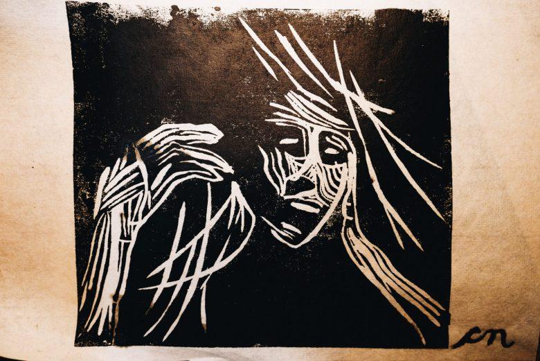 Cindy sketch linocut