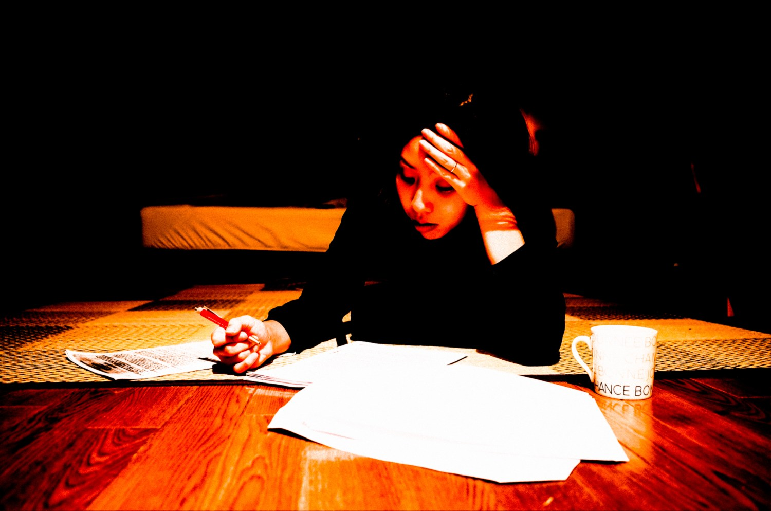 Cindy studying