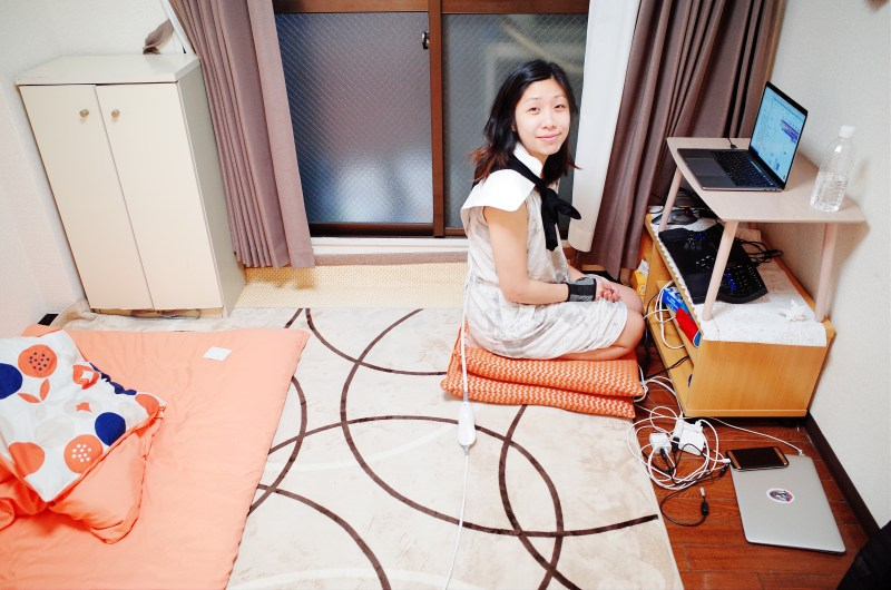 Cindy at work in our apartment in Osaka, 2018