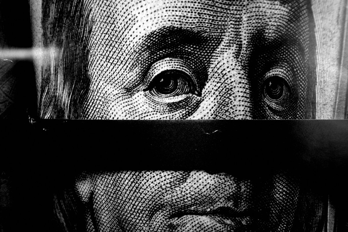Benjamin Franklin money face closeup