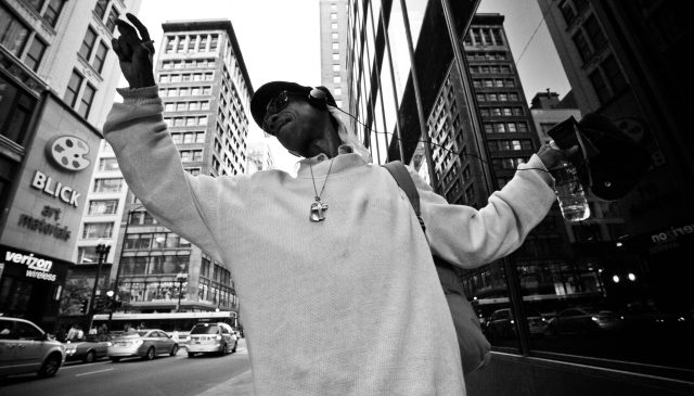 Chicago dancing man. Canon 5D and 17mm