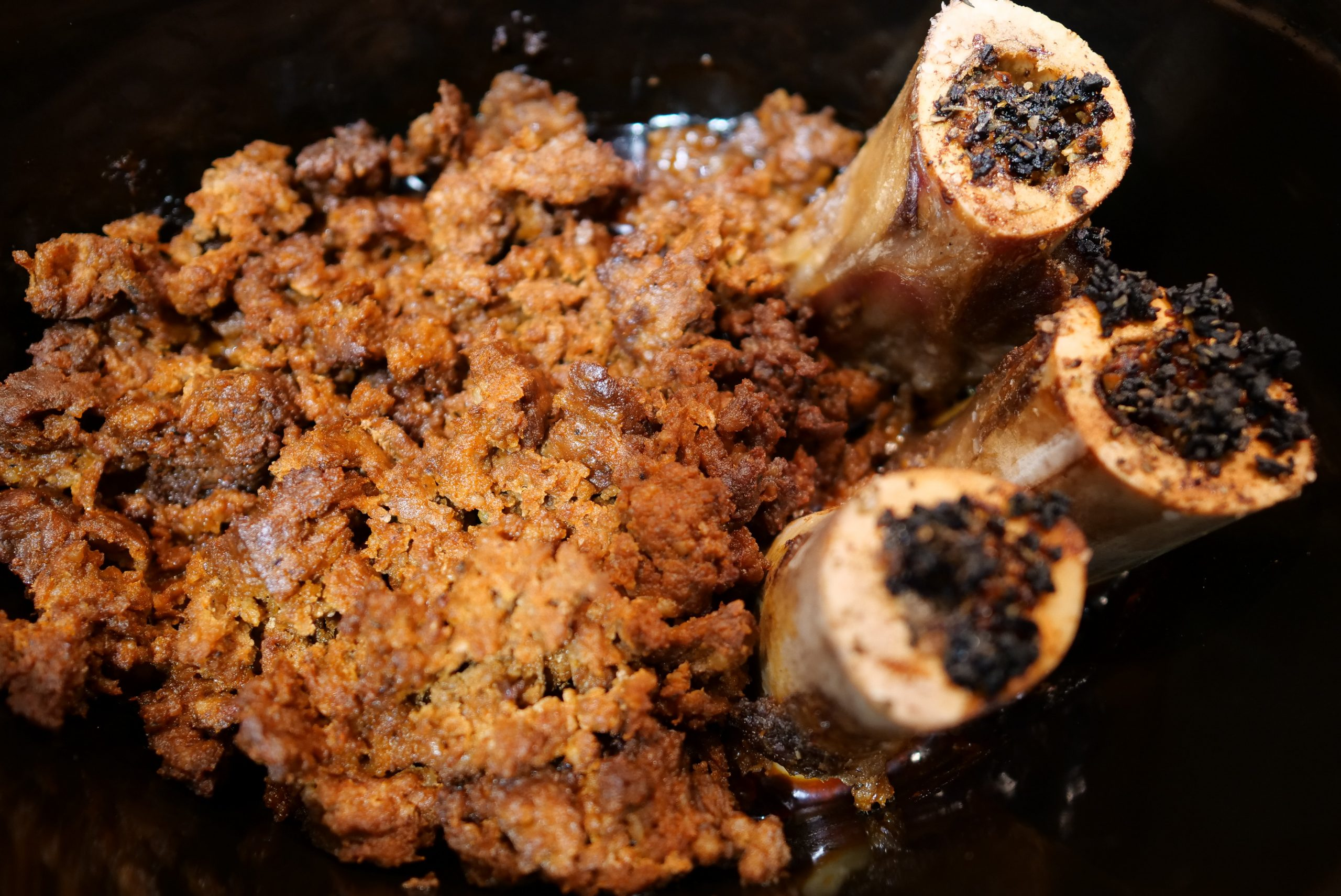 Crockpot bone marrow and ground beef in the oven.