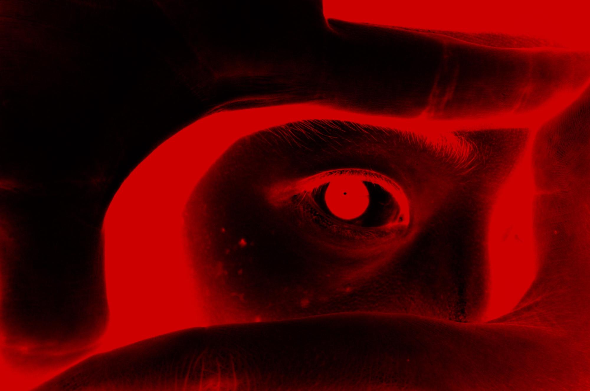 Red ERIC KIM selfie eye