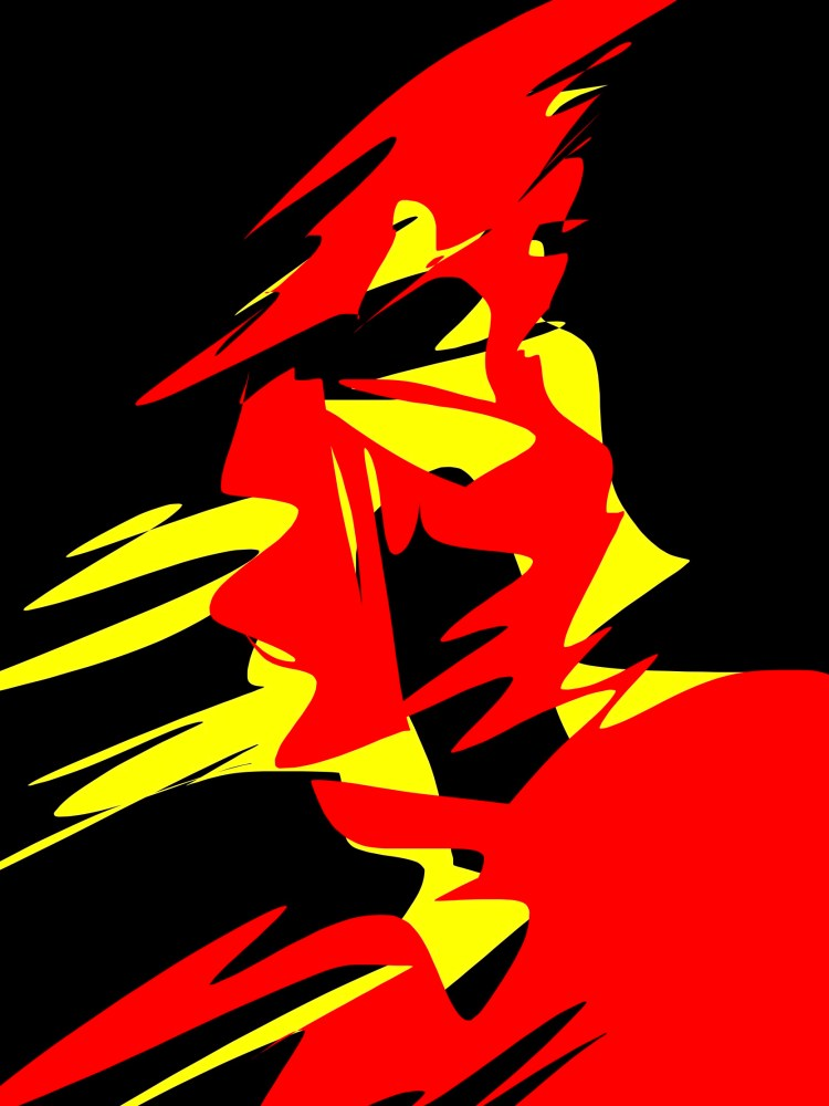 Spartan yellow red abstract