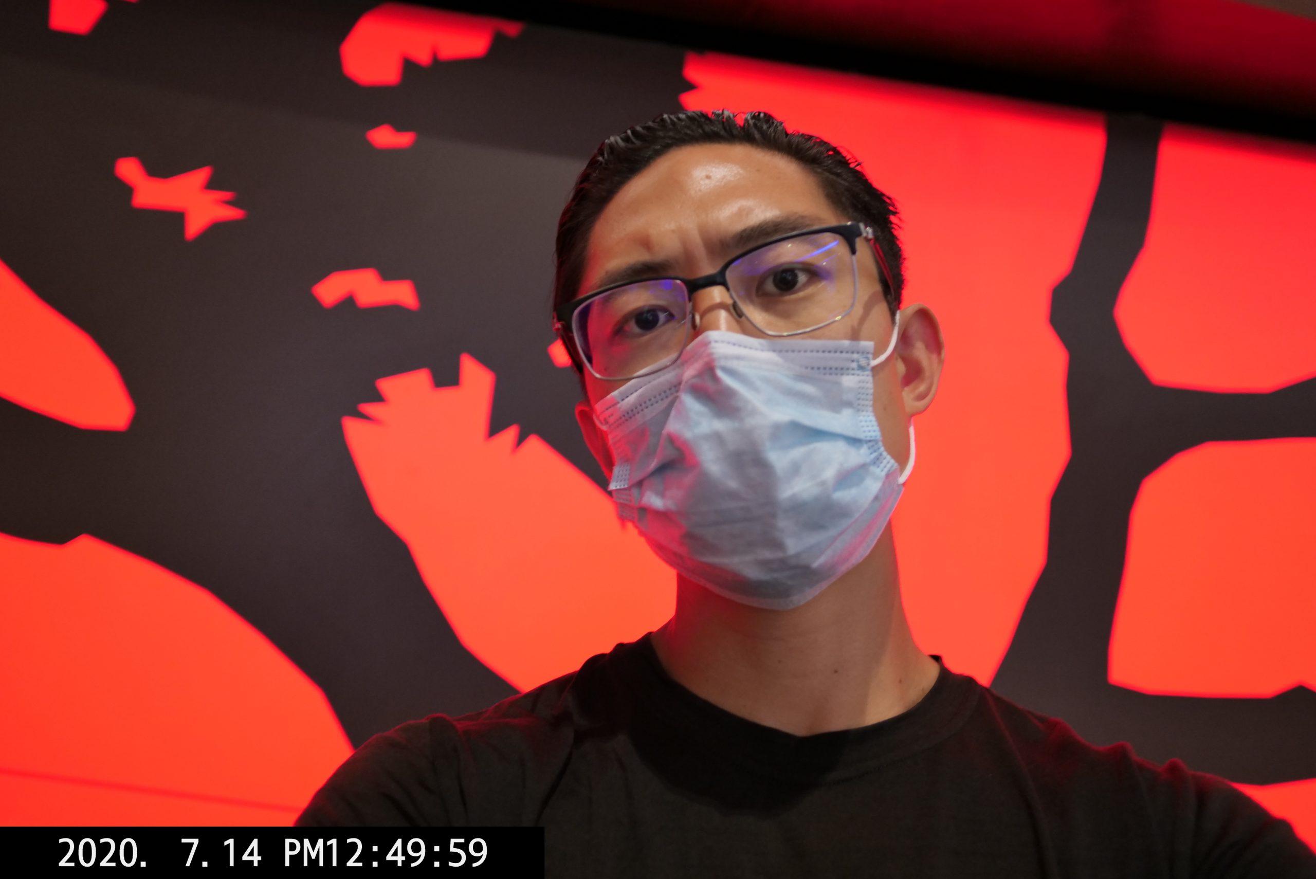 selfie face mask black blue red ERIC KIM lumix