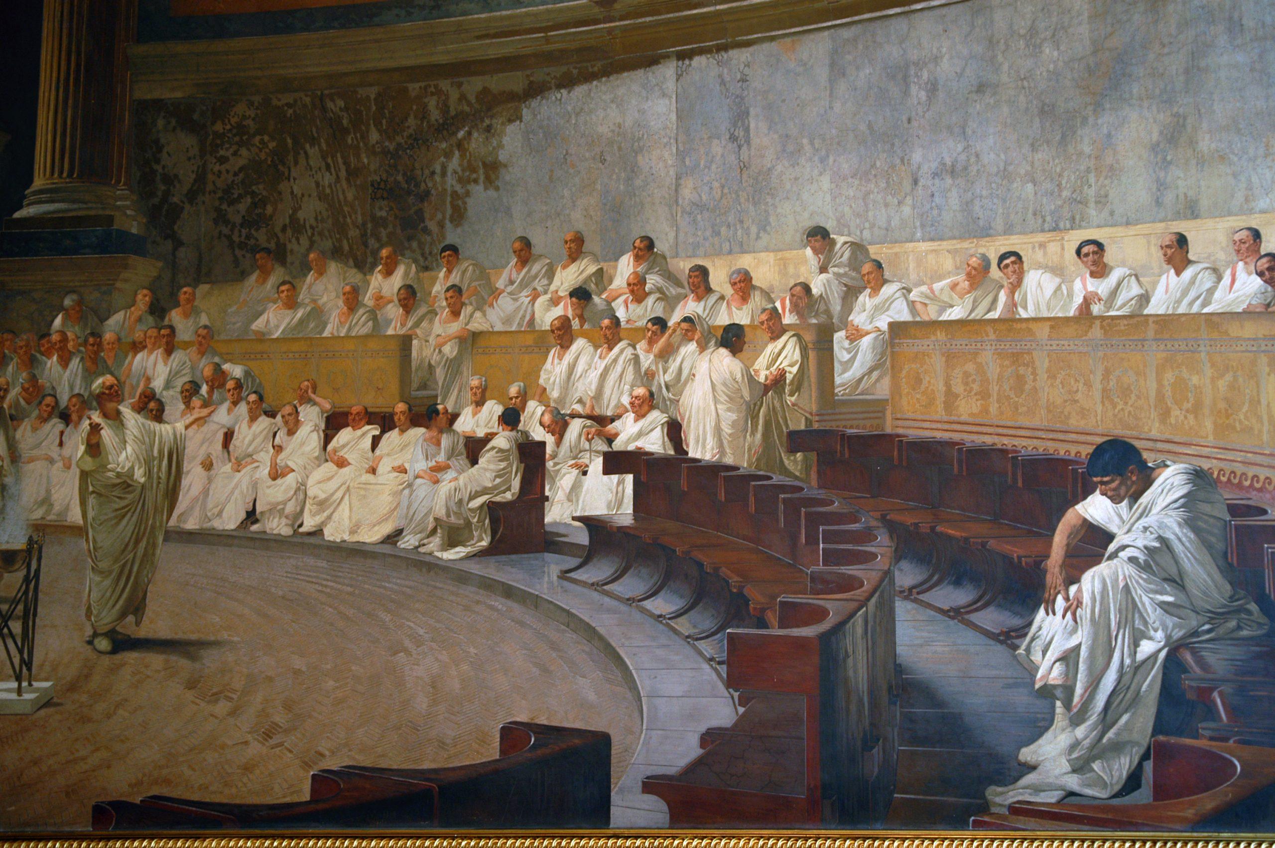 Maccari Hall (Palazzo Madama) - Cicero denouncing Catiline to the Senate (Cesare Maccari, 1840-1919)