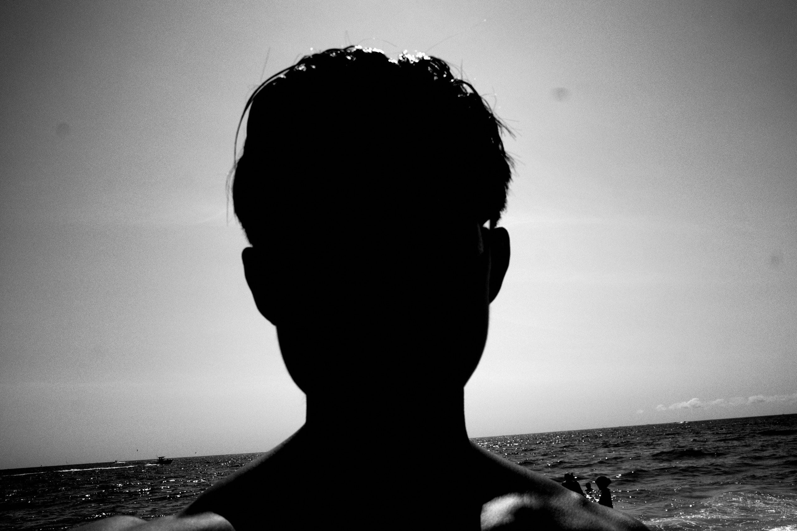 selfie black and white ERIC KIM beach