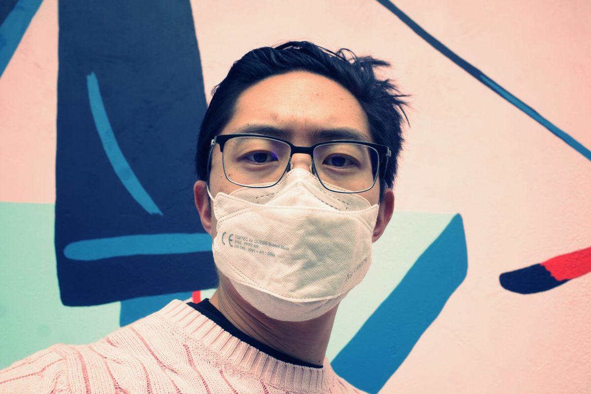 selfie ERIC KIM face mask pink