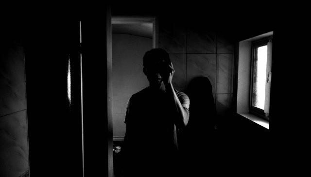 selfie ERIC KIM black and white low key