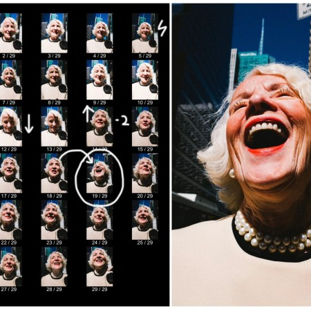 Laughing lady contact sheet