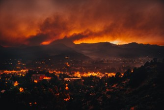 Forest Fire after sunset. City of Durango, Colorado. Leica M + Summicron 28. Copyrighted Image.