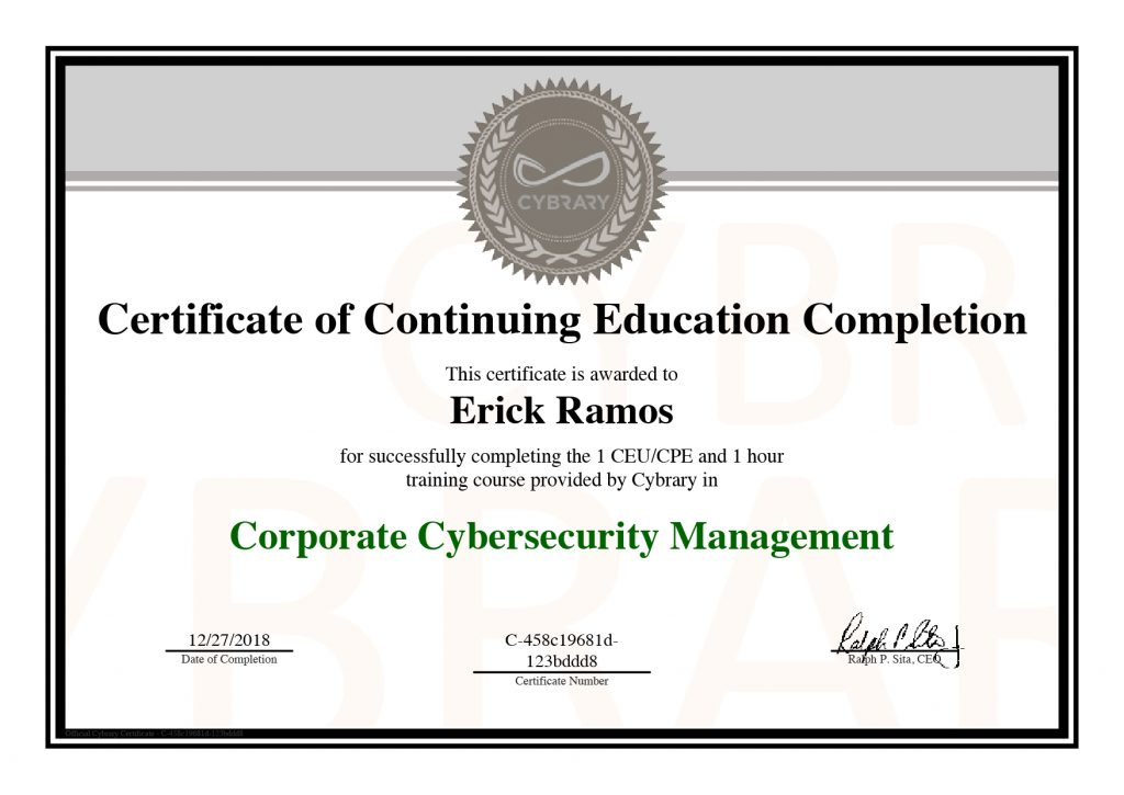 Cybersecurity Certifications Erick Ramos Designer