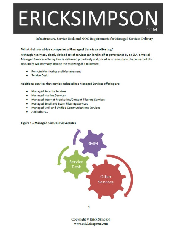 Erick Simpson's Infrastructure, Service Desk and NOC Requirements for Managed Services Delivery White Paper