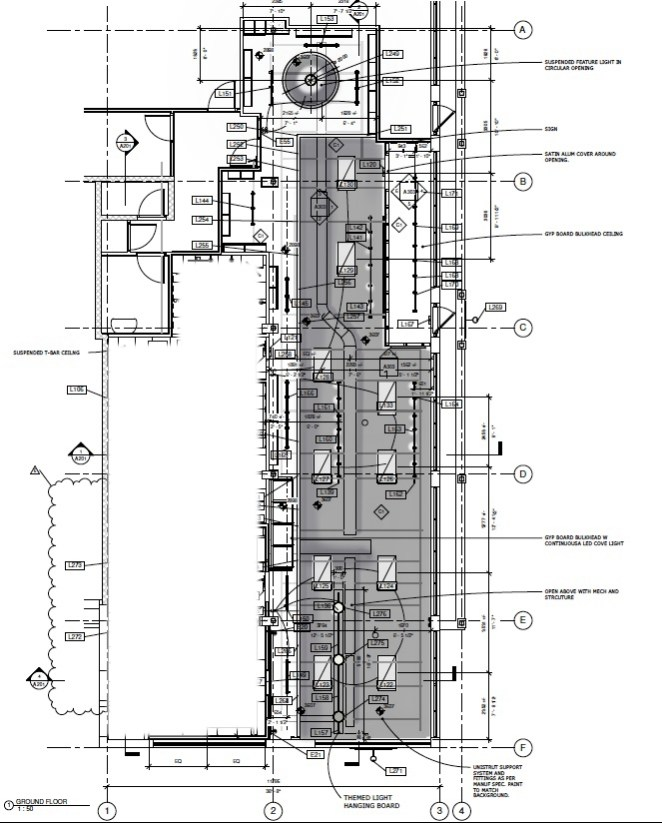 Ceiling plan with mechanical, lighting and bulkheads.