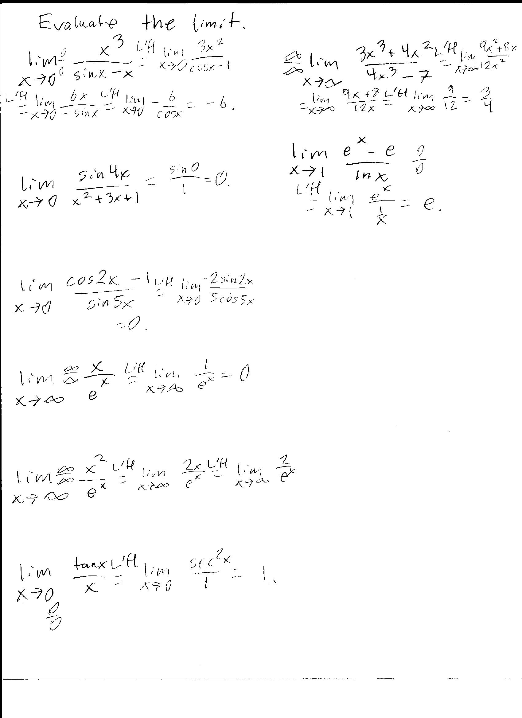 Quiz 7 9 Solutions And L H Worksheet Answers