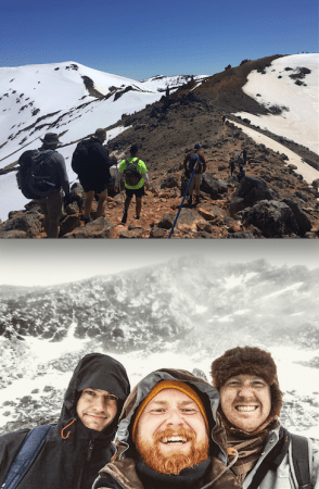 Top photo: climbing up the Tongariro Bottom photo: Climbing up The Remarkables