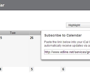 Edline Calendar with the Subscribe and Copy URL buttons highlighted