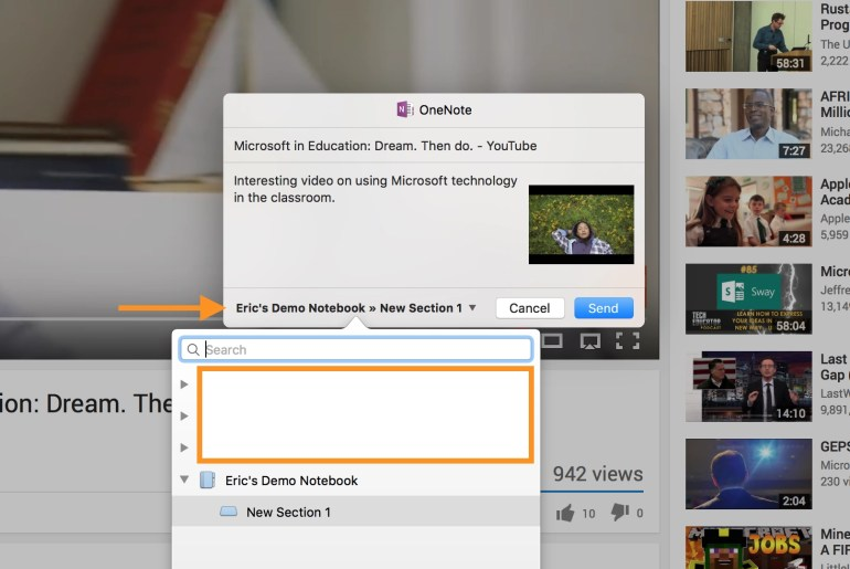 macOS OneNote Share Extension.