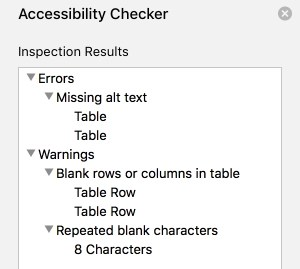 Microsoft Word Accessibility Checker Screenshot