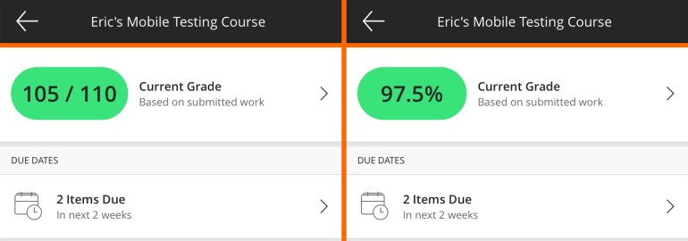 Blackboard app screenshot displaying total points and percentage.