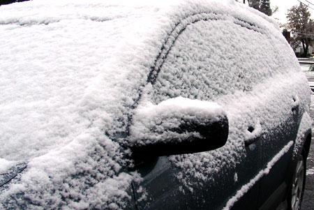Snow in Corvallis Oregon on Pontiac Vibe