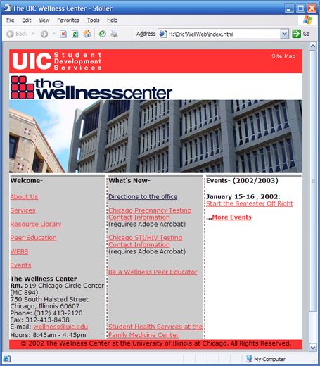 UIC Wellness Center website screenshot