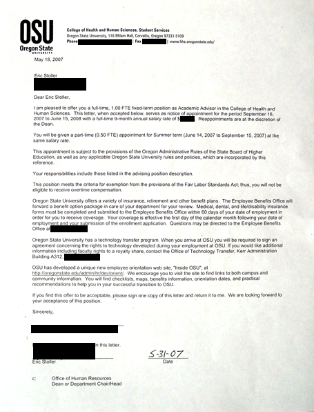 top secret eric stoller new job acceptance letter for Oregon State University