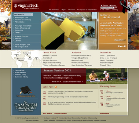 Virginia Tech homepage screenshot