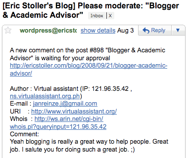 link spam comment on wordpress blog