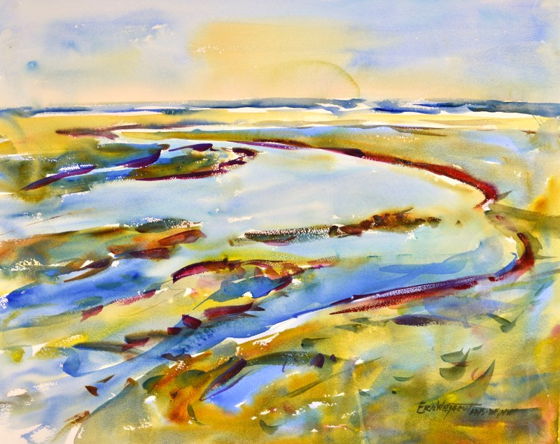 4257 Ocean Park Slough, original watercolor painting by Eric Wiegardt AWS-DF, NWS