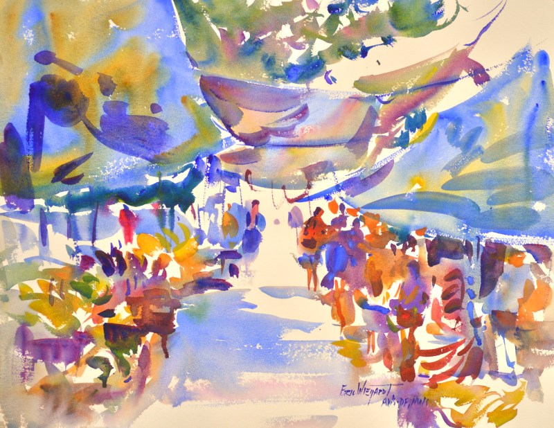 4270 Belizian Market, original watercolor painting by Eric Wiegardt AWS-DF, NWS