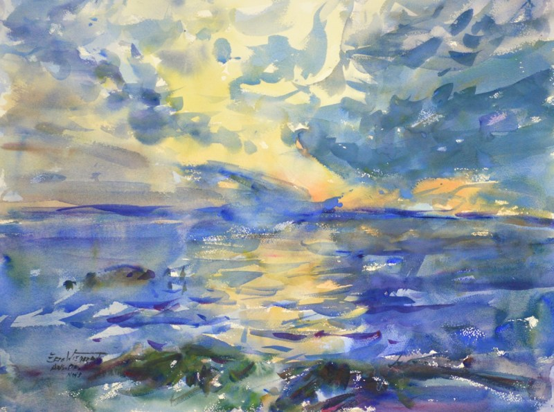 4276 Willapa Sunrise, original watercolor painting by Eric Wiegardt AWS-DF, NWS
