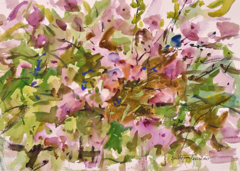 4287 Oysterville Lavatera, original watercolor painting by Eric Wiegardt AWS-DF, NWS